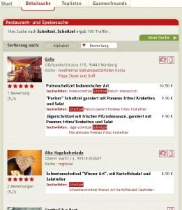 Ergebnisliste bei Suche nach Schnitzel in Nürnberg, Fürth, Erlangen, Regensburg
