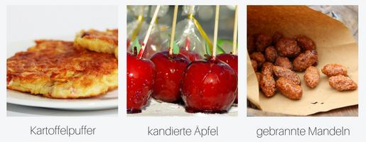 Kartoffelpuffer-kandierte Äpfel-gebrannte Mandeln