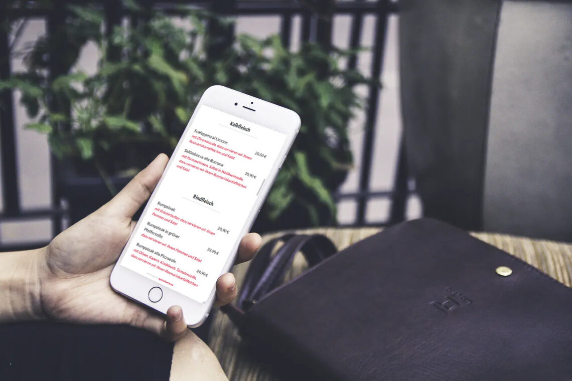 Die digitale Speisekarte auf einem Smartphone